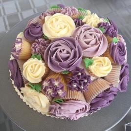 Purple & Cream Cupcake Bouquet