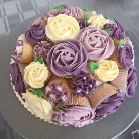 Purple & Cream Cupcake Bouquet
