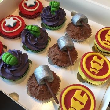 Captain America, The Hulk, Thor and Iron Man Cupcakes!