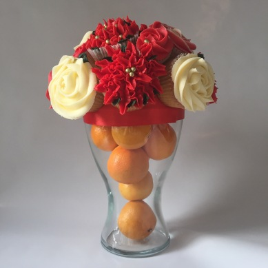 Christmas theme with glass vase