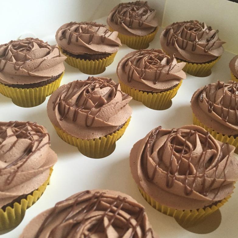 Chocolate Cupcakes with Hazelnut Chocolate Rose Shaped Icing