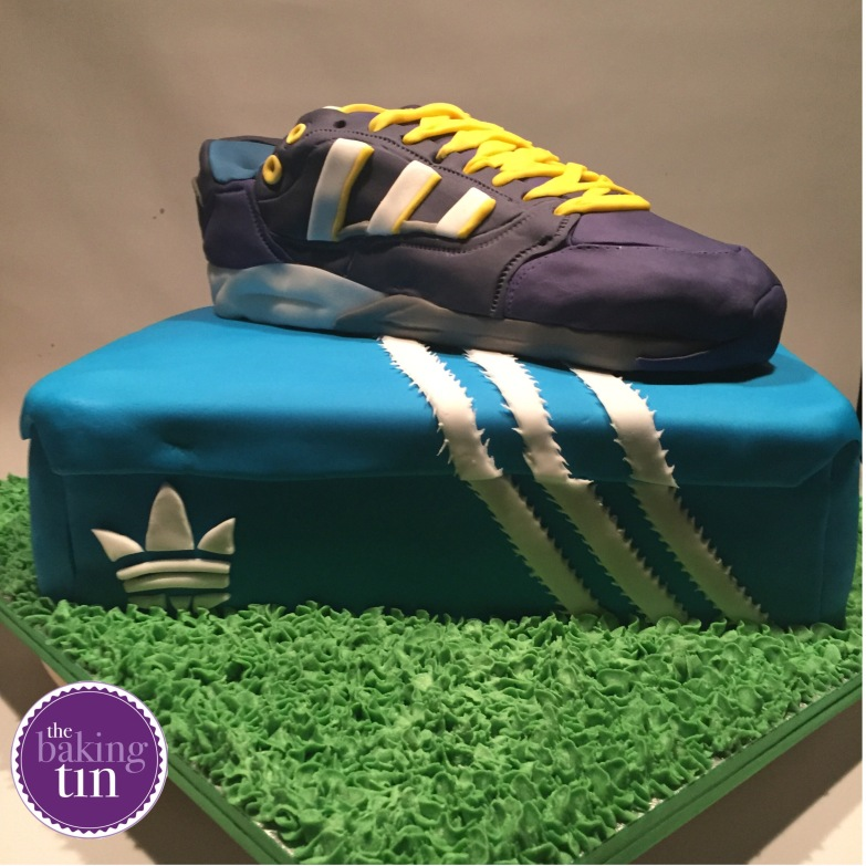 Lifesize (yes, life-size) adidas shoe and box. The box was three layers of chocolate, vanilla and raspberry