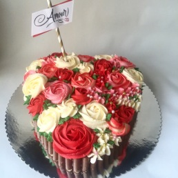 Heart shaped and rose filled edible basket to celebrate a Paris engagement