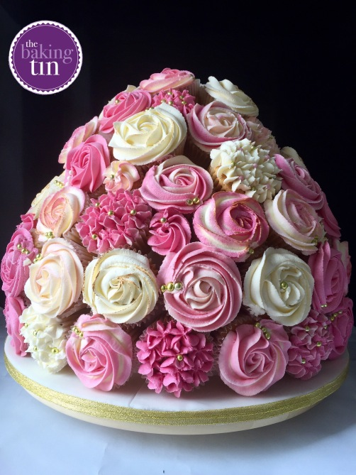 White and Pink Rose Wedding Cupcake Bouquet with hand-painted gold touches