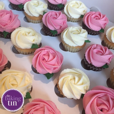 Mini Vanilla & Chocolate Rose Cupcakes